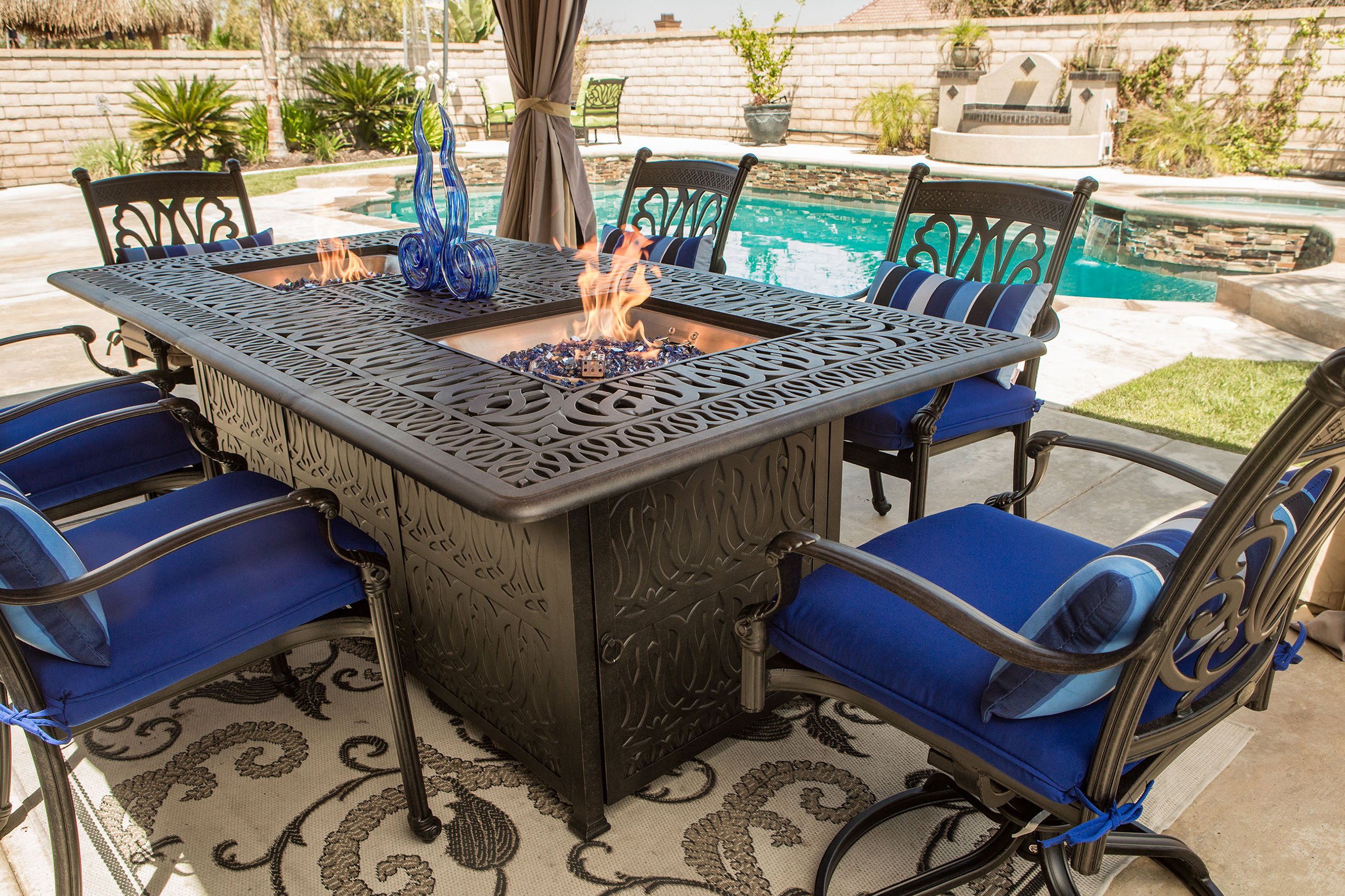 Outdoor Dining Set With Fire Pit Table