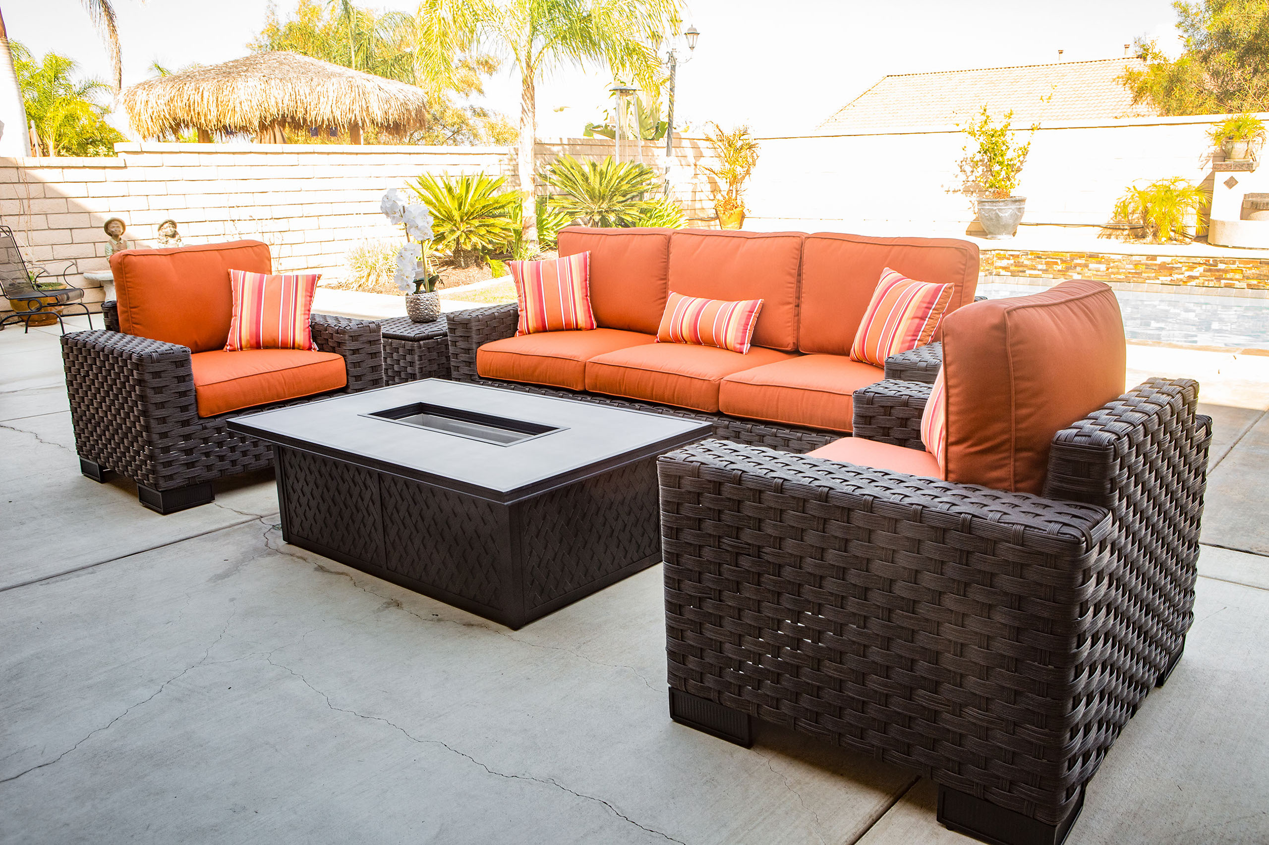 Outdoor sofa love seat and fire pit coffee table