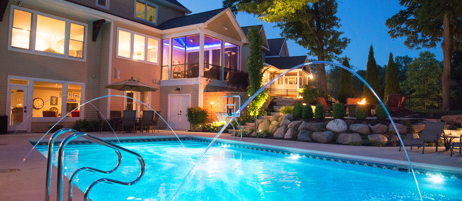 Lighting Amp Water Features Zagers Pool Amp Spa